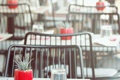 Potenciômetros com as plantas carnudas nas tabelas do café exterior da rua Foto borrada para o fundo imagens de stock royalty free