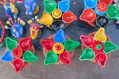 Potenciômetros da terracota, artesanatos indianos justos em Kolkata Fotos de Stock