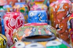 Potenciômetros da terracota, artesanatos indianos justos em Kolkata Foto de Stock