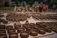 Potenciômetros de argila no mercado, Jujuy, Argentina fotografia de stock