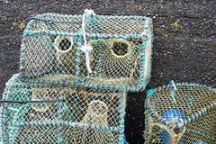 Potenciômetros de lagosta prontos para expor no mais baixo porto de Milovaig imagens de stock royalty free