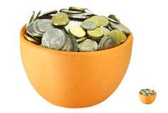 Potenciômetros do dinheiro Fotos de Stock Royalty Free
