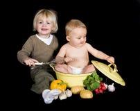 Potenciômetros e bandejas para miúdos Foto de Stock Royalty Free