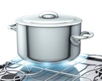 Potenciômetro com fogão de gás Fotos de Stock Royalty Free