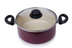 Potenciômetro da bandeja dos utensílios da cozinha isolado Fotografia de Stock Royalty Free