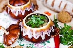 Potenciômetro da batata e da salsa da sopa na tabela Fotos de Stock Royalty Free