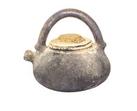 potenciômetro de argila velho isolado Foto de Stock Royalty Free