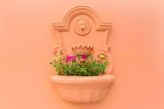 Potenciômetro de flor na parede Fotografia de Stock Royalty Free