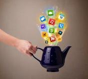 Potenciômetro do chá com ícones coloridos dos meios Imagens de Stock