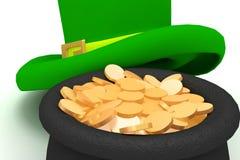 Potenciômetro do chapéu do Leprechaun com moedas Imagens de Stock Royalty Free