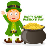 Potenciômetro do dia de Patrick s de ouro e de duende Imagens de Stock Royalty Free