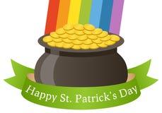 Potenciômetro do dia de Patrick s de ouro feliz & de fita Imagens de Stock