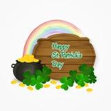 Potenciômetro do dia de St Patrick do fundo do ouro e do arco-íris Ilustração do vetor Fotos de Stock Royalty Free