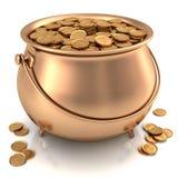 Potenciômetro dourado completamente de moedas de ouro Fotos de Stock Royalty Free