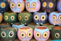 Potenciômetro pequeno do vaso colorido do projeto da coruja Imagem de Stock