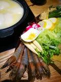 Potenciômetro quente da base de sopa do colagênio da galinha Foto de Stock
