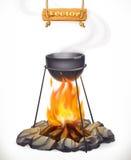 Potenciômetro sobre a fogueira ícone do vetor 3d ilustração do vetor