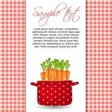 Potenciômetro vermelho com cenouras. Orgânico, dieta, alimento saudável Imagens de Stock