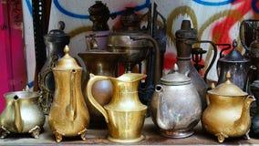 Potenciômetros antigos do chá e do café Fotografia de Stock Royalty Free