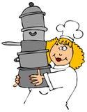 Potenciômetros carreg do cozinheiro chefe Imagem de Stock