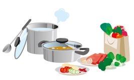 Potenciômetros da cozinha e bandejas e alimento Fotografia de Stock