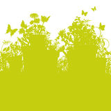 Potenciômetros da grama e de flor Fotografia de Stock Royalty Free