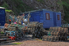 Potenciômetros da vertente e de lagosta dos pescadores Fotografia de Stock