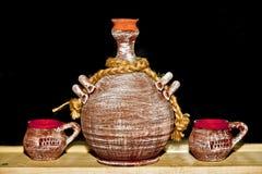 Potenciômetros de argila tradicionais romenos Fotografia de Stock Royalty Free