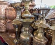 Potenciômetros de cobre brilhantes do café Imagens de Stock Royalty Free