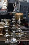 Potenciômetros de cobre brilhantes do café Imagens de Stock
