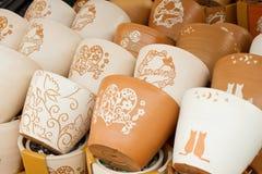 Potenciômetros de flor da argila Imagem de Stock Royalty Free