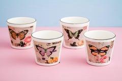 Potenciômetros de flor decorativos coloridos com projeto da borboleta Foto de Stock Royalty Free
