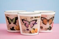 Potenciômetros de flor decorativos coloridos com projeto da borboleta Fotografia de Stock Royalty Free