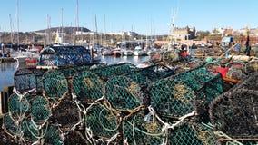 Potenciômetros de lagosta do porto de Scarborough Imagem de Stock