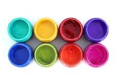 Potenciômetros de pintura do arco-íris imagens de stock