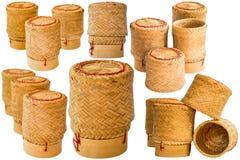 Potenciômetros do arroz pegajoso isolados imagens de stock royalty free