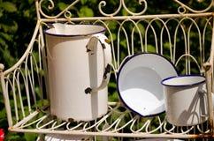 Potenciômetros do esmalte do vintage/utensílios da cozinha Imagem de Stock Royalty Free