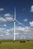 Potencia blanca que genera las turbinas de viento Imágenes de archivo libres de regalías