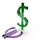 Potencia de los E.E.U.U. del dólar contra el euro Foto de archivo libre de regalías