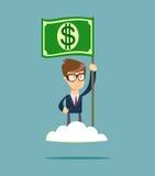 Potencia del dinero Hombre orgulloso que aumenta una bandera del dólar en la nube Fotografía de archivo