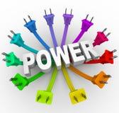 Potencia - palabra rodeada por Plugs Imagen de archivo libre de regalías