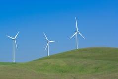 Potencia tres que genera los molinoes de viento Imagen de archivo libre de regalías