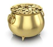 Potenciômetro de moedas de ouro Imagem de Stock Royalty Free