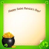 Potenciômetro do ouro dos leprechauns com cartão dos trevos Imagem de Stock Royalty Free