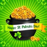 Potenciômetro preto do ouro dos leprechauns com trevos afortunados Imagem de Stock Royalty Free
