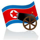 North Korean flag and cannon Royalty Free Stock Image