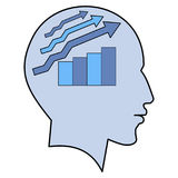 Potential idea human man head graph brain concept. Potential idea solution growth schedule human man head brain concept illustration art Stock Image