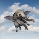 Potential And Possibilities. Concept with a realistic elephant flying in the air using wings as a business symbol of achievement and belief in your abilities to Royalty Free Stock Photo