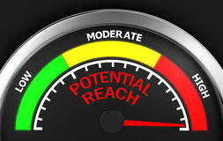 Potential reach. Conceptual meter 3d rendering stock image
