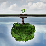 Potential Success Concept. As a symbol for aspiration philosophy idea and determined growth motivation icon as a small young sapling making a reflection  of a Stock Photo